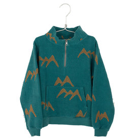 Zipped Sweatshirt Mountains Peacock Green