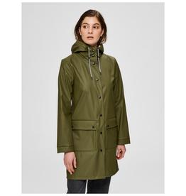 Selected Femme Rainie Rain Coat Green