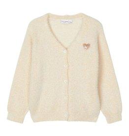 Villis Knit Cardigan White Glitter