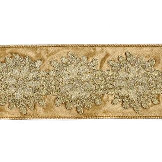 Goodwill Velvet Flower Trimmed Ribbon Gold 10cm (Price per Meter)
