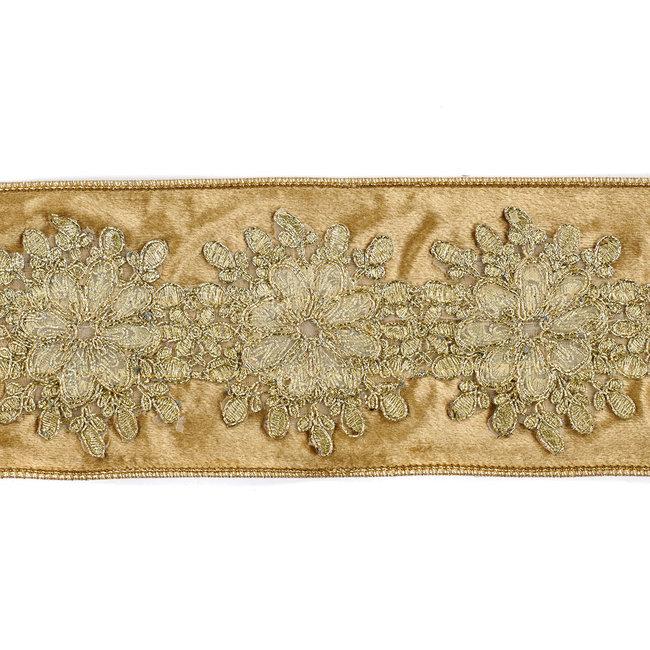 Velvet Flower Trimmed Ribbon Gold 10cm (Price per Meter)