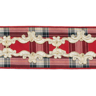 Goodwill Lace Trimmed Tartan Ribbon Red/Gold 10cm (Price per Meter)