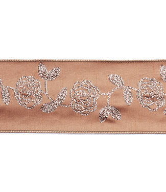 Embroidery Ribbon Pink/Rose Gold 10cm (Price per Meter)