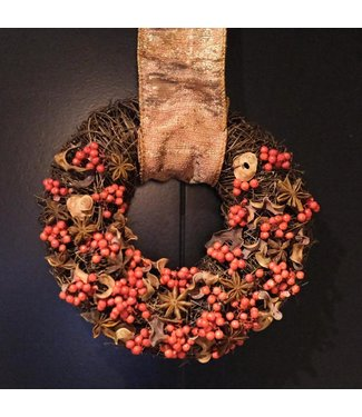Hanging Christmas Wreath ø 20cm (brown / red)
