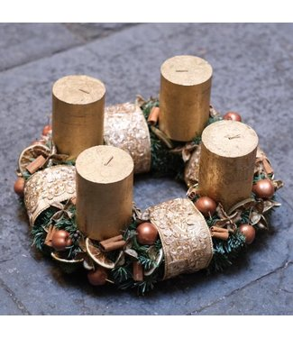 Standing Christmas Wreath w/ Candles ø 32cm (gold)