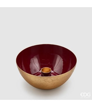 Charming Red & Gold Candle Holder (H6,5cm / ø14cm)