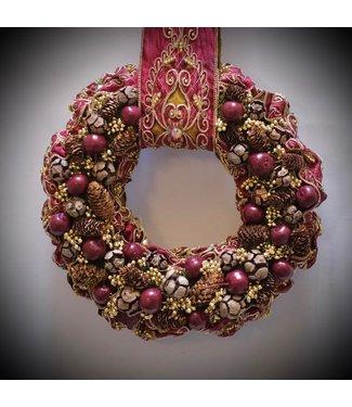 Hanging Christmas Wreath ø 32cm (Burgundy)