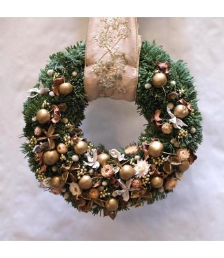 Hanging Christmas Wreath Gold/Creme (ø35cm)
