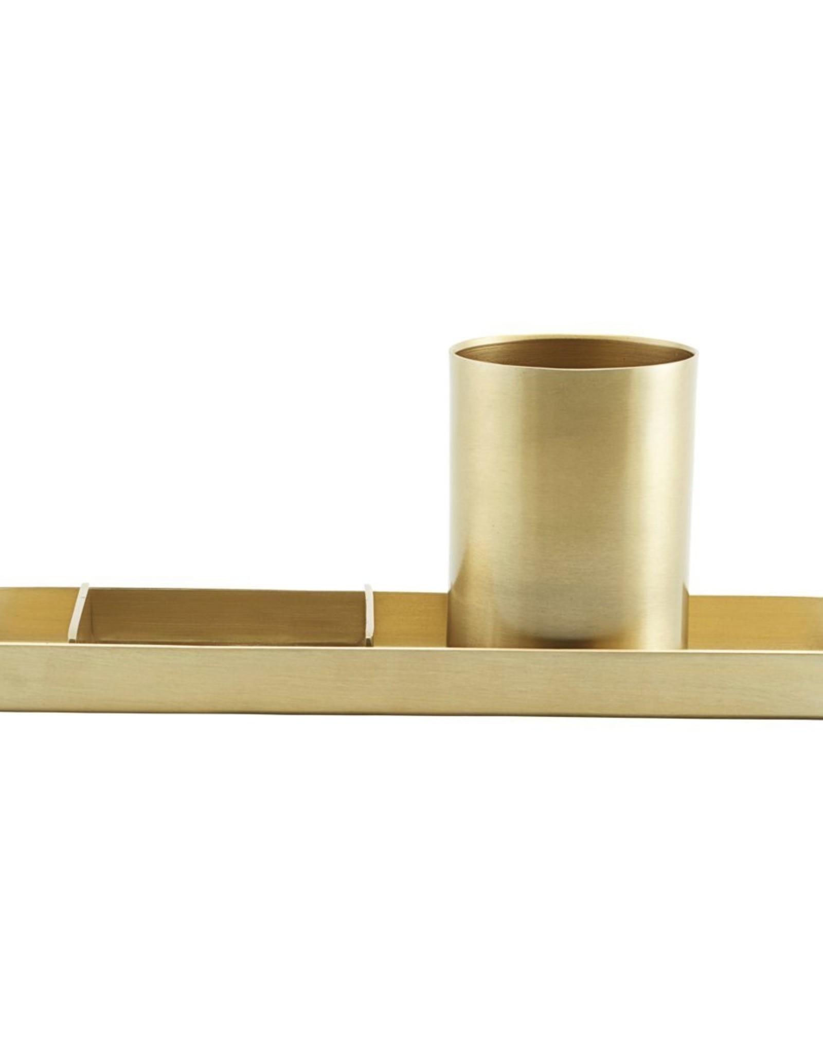 Monograph Monograph Stationary organizer set of 3  brass finish, 26.6 x 9 cm, h: 10 cm