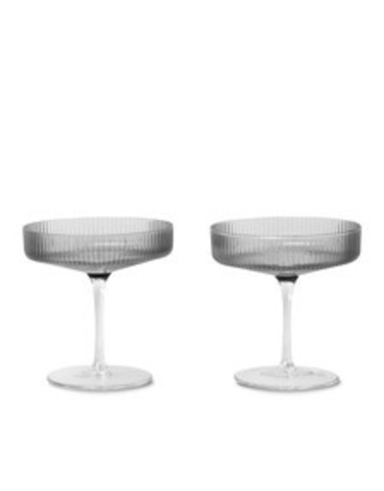 Ferm LIVING ferm LIVING Ripple Champagne Saucer smoked grey