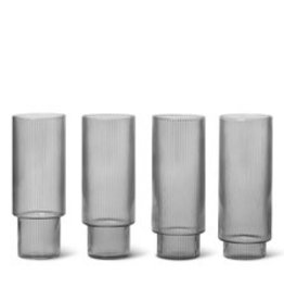 Ferm LIVING ferm LIVING Ripple Long Drink Glasses (set of 4) smoked grey