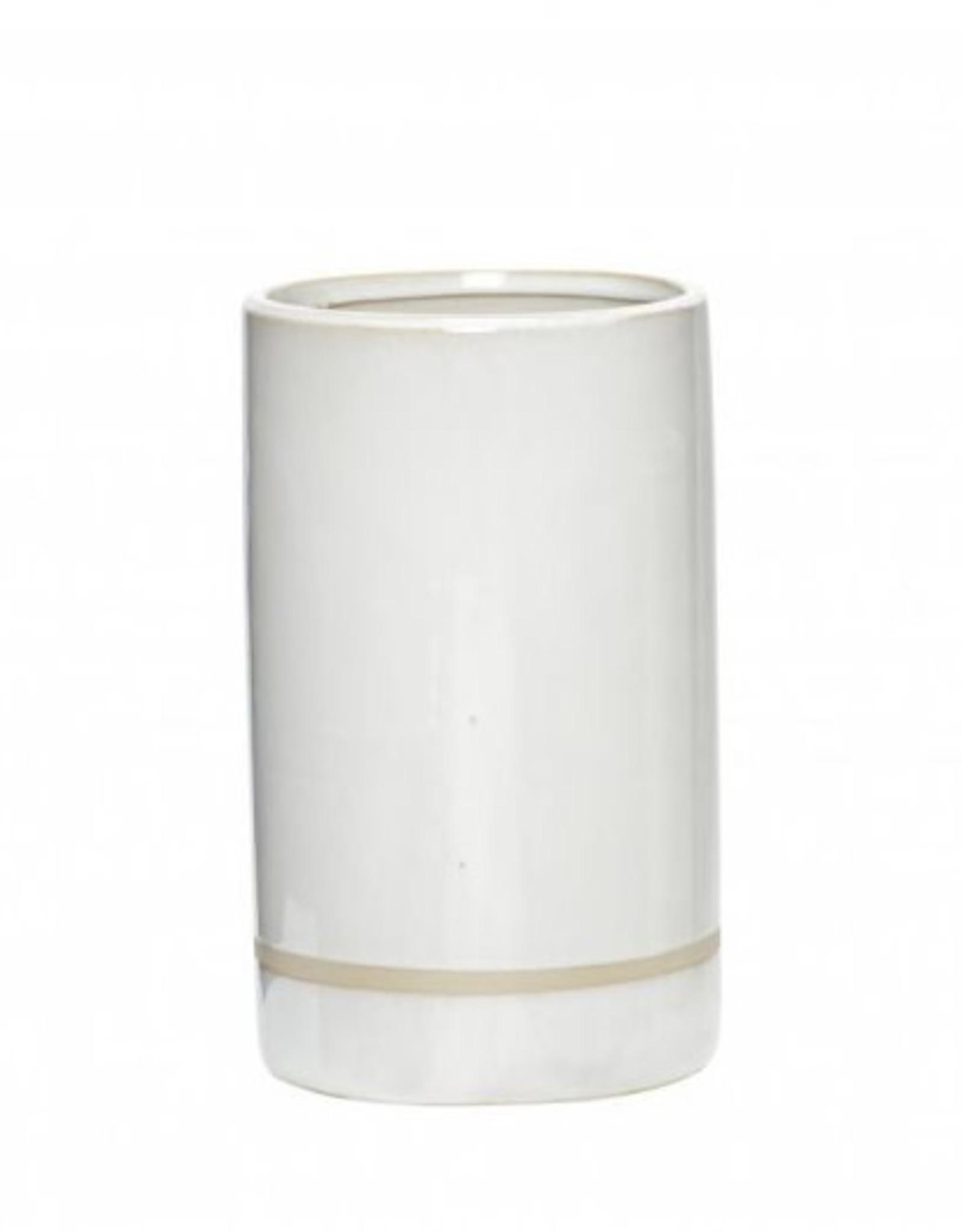 Hübsch Hübsch Pot Ceramics White/Sand 21cm