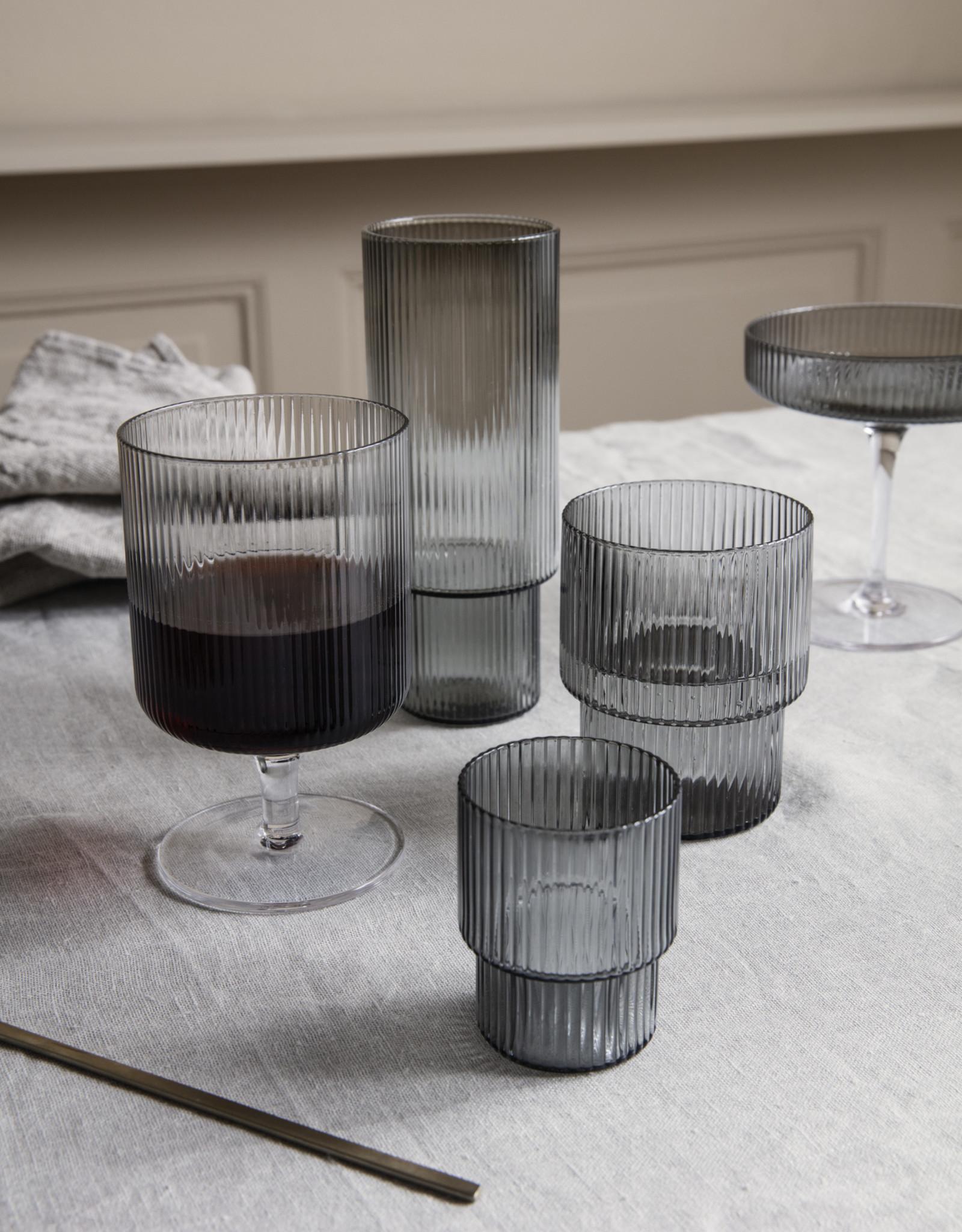 Ferm LIVING ferm LIVING Ripple Long Drink Glasses (set of 4) smoked grey