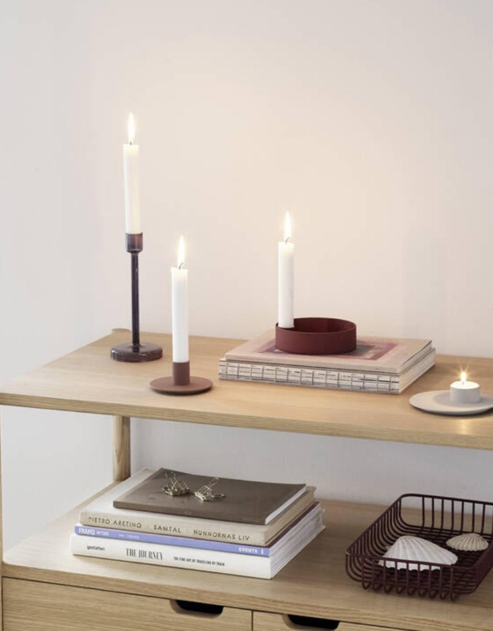 Hübsch Hübsch Candlestick Metal Bordeaux Ø12cm