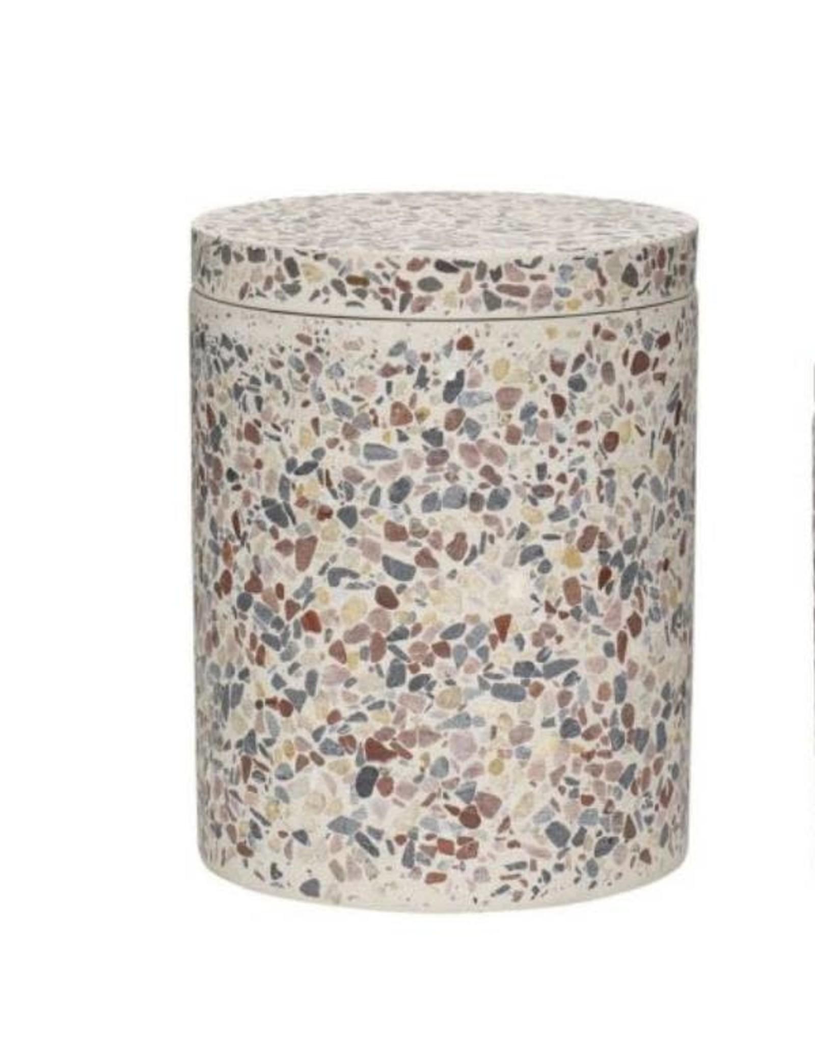Hübsch Hübsch Storage Jar w/lid Terrazzo White Large