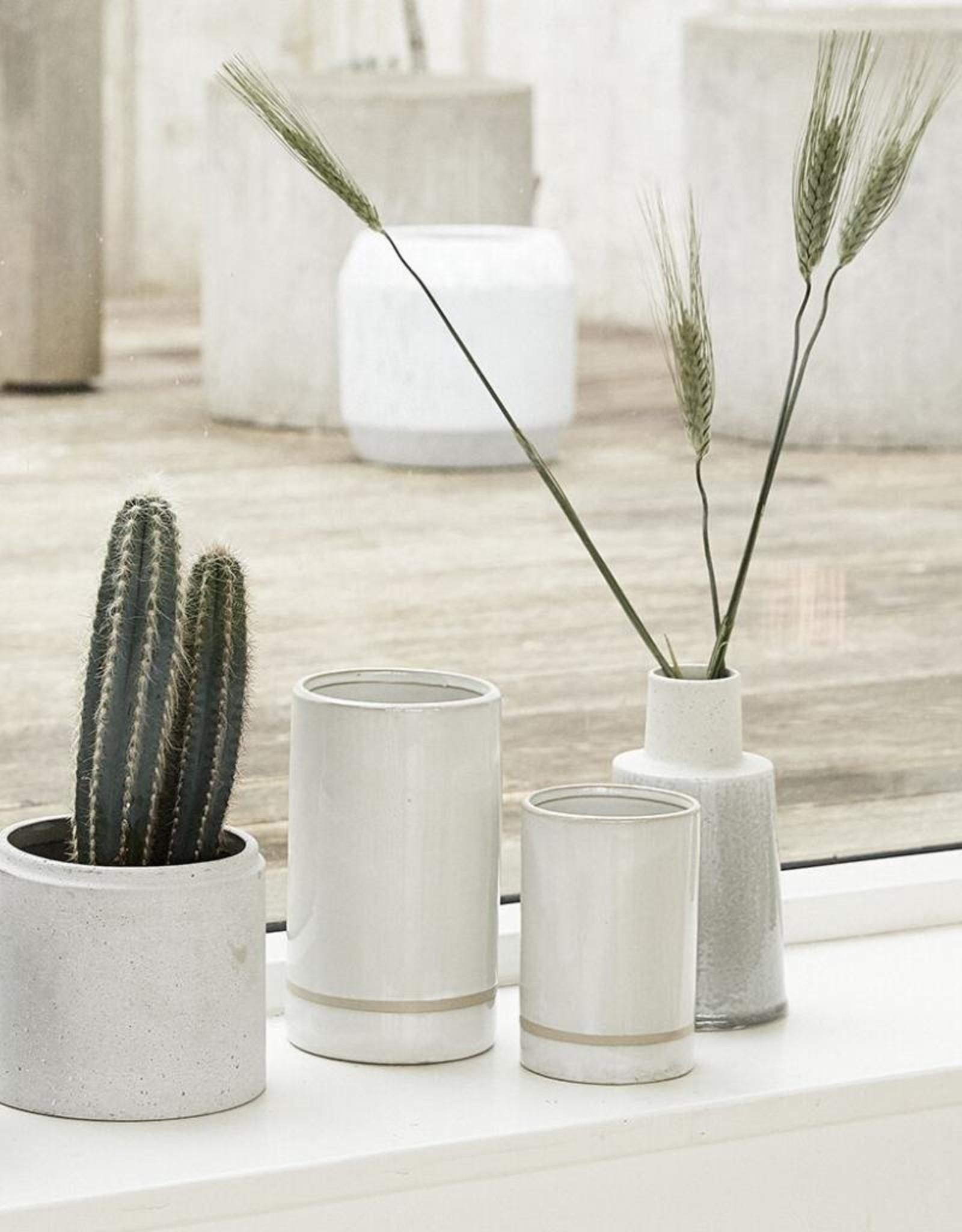 Hübsch Hübsch Pot Ceramics White/Sand 15cm