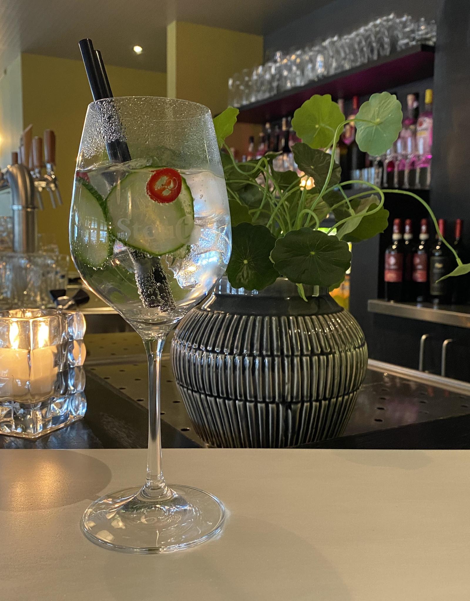 Hendriks Gin, Fevertree Tonic, komkommer & Spaanse peper