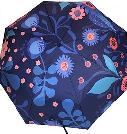 Schirm Blau mit Blumen
