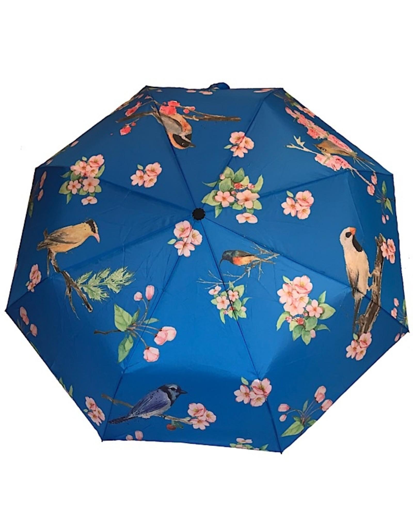 Schirm Hellblau mit Vögel