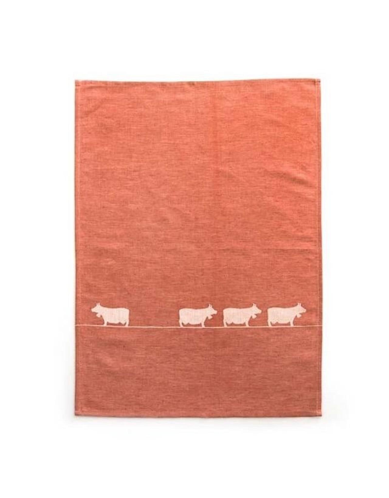 JA/UND Geschirrtuch Kühe   rot 50x70cm