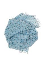 Wollschal Eda offwhite/blau/petrol 100%Wolle handgewoben