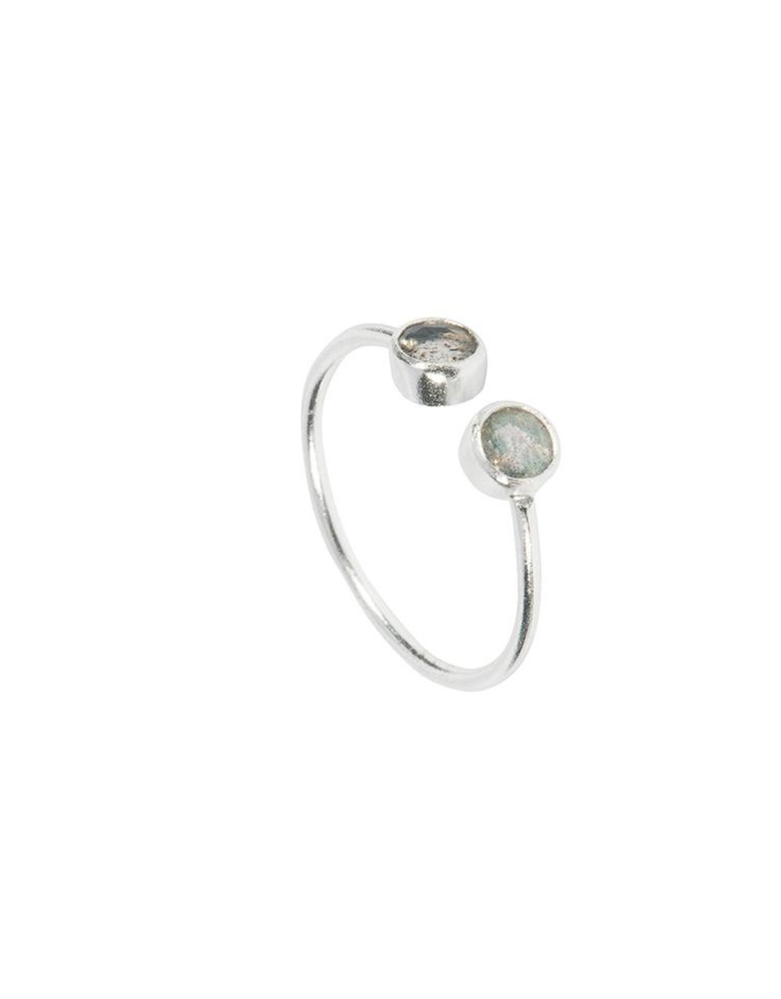 Ring Twin Stone Labradorit 925 Silber