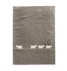 JA/UND Geschirrtuch Kühe  grau