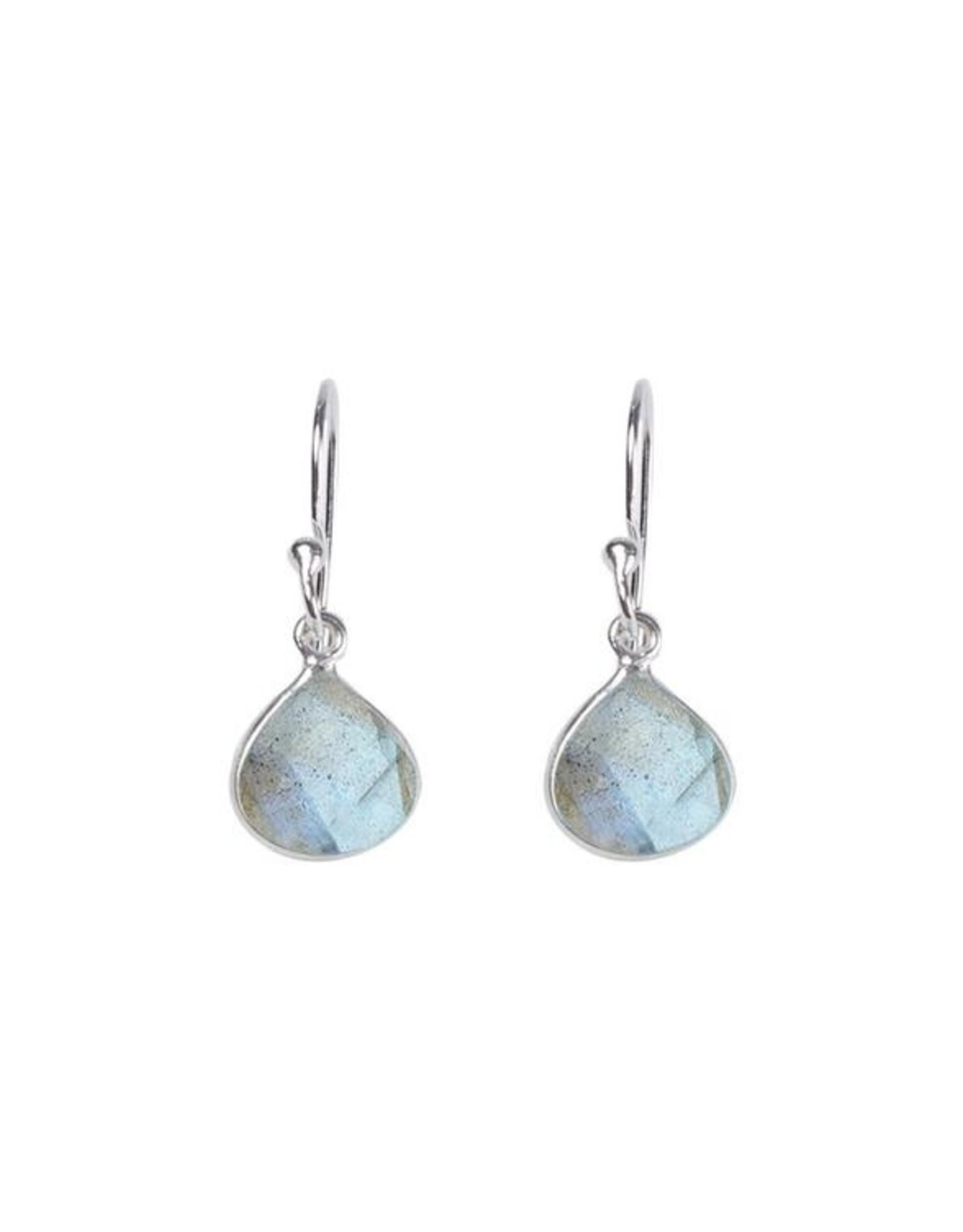 Ohrringe Small Drop Stone Labradorit 925 Silber