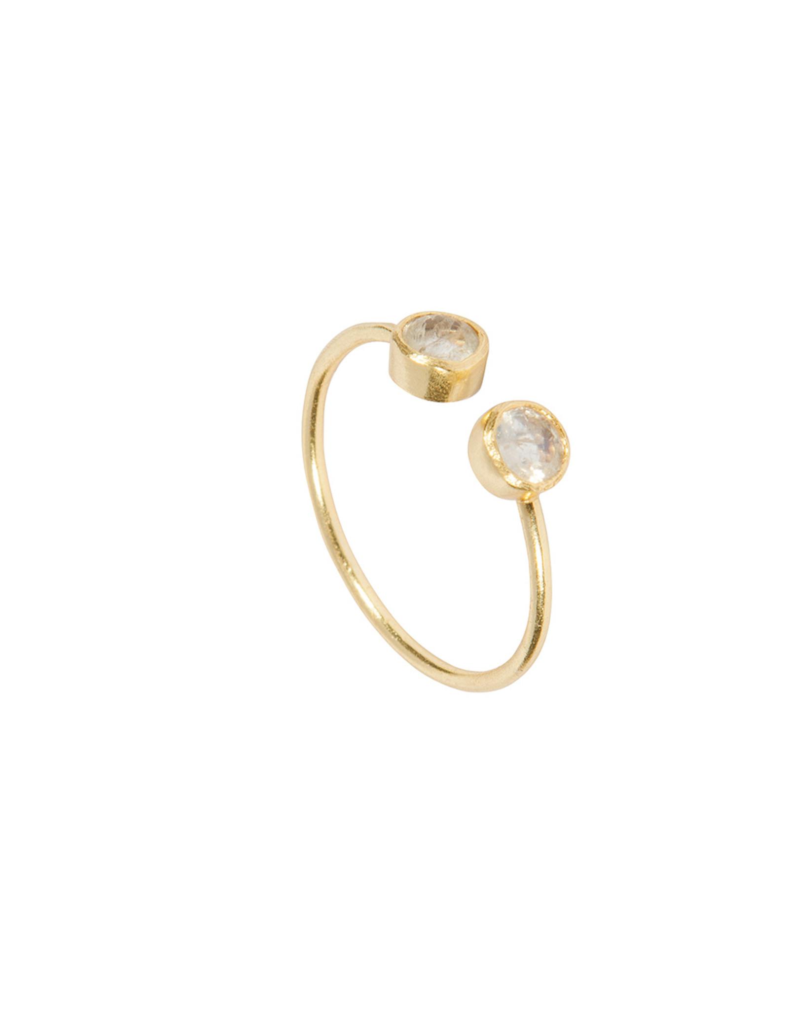 Ring Twin Stone Mondstein925 Silber vergoldet