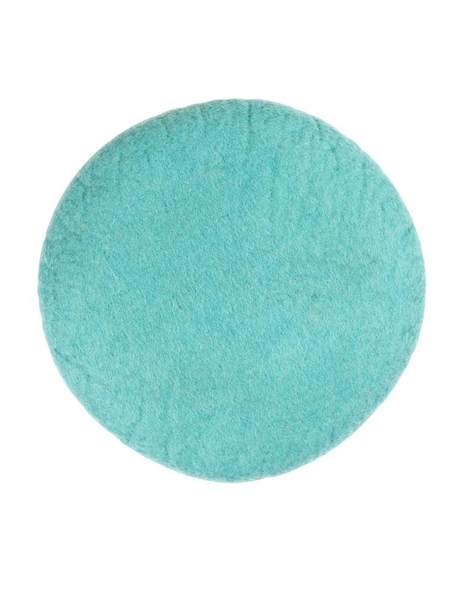 Filz Sitzkissen rund aqua 100% Wolle gefilzt
