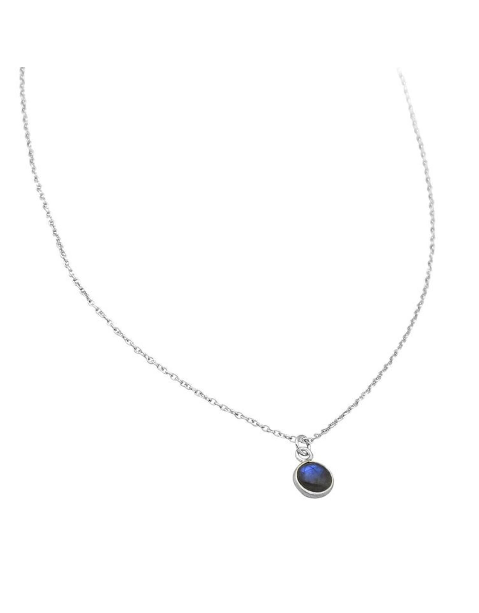 Halskette Round Cabuchon  labradorit 925 Silber