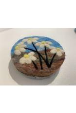 Filzseife Braun Blau/Margeriten 100% Wollfilz Handmade