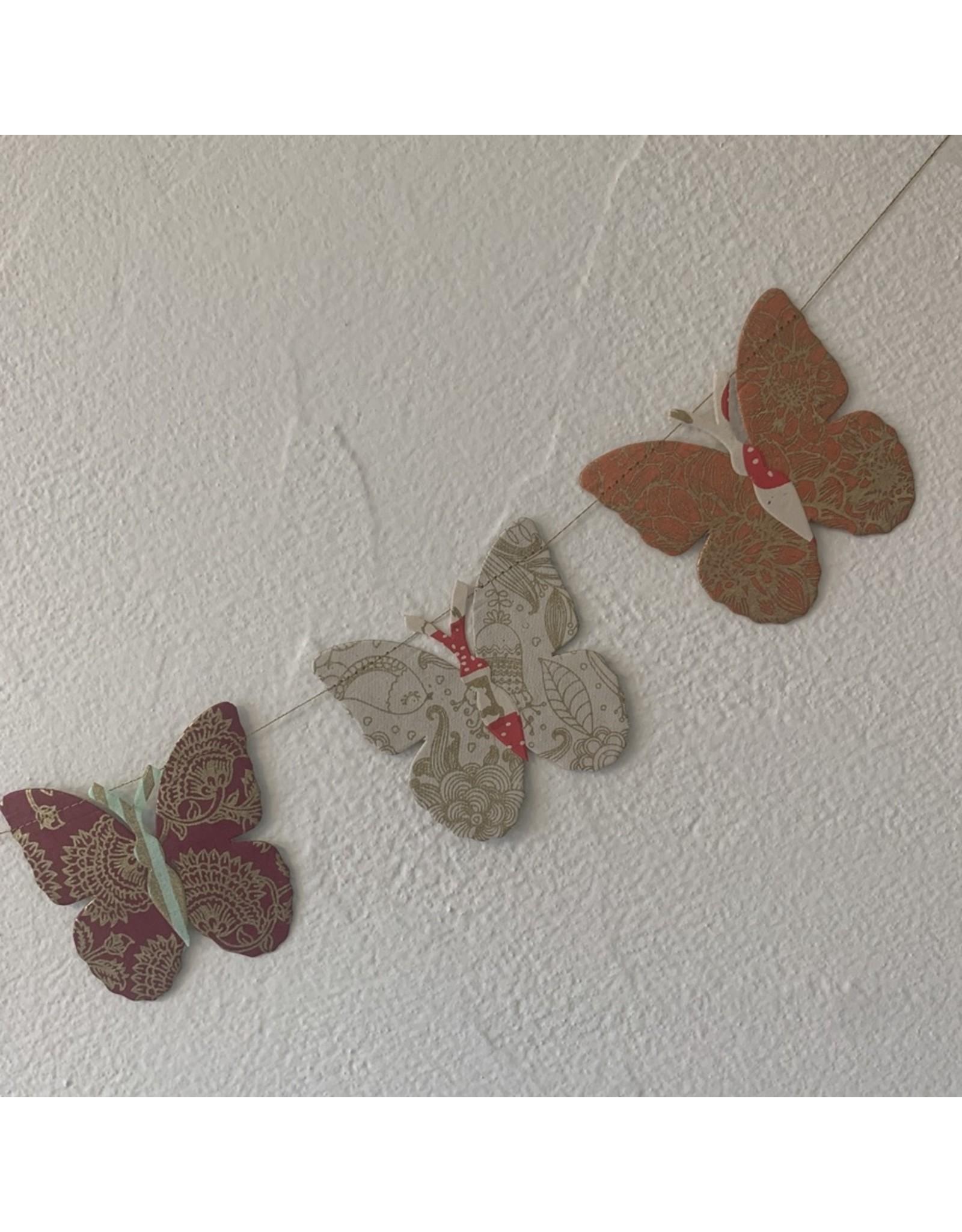 Girlande Happy Schmetterling gross Handgeschöpftes Papier