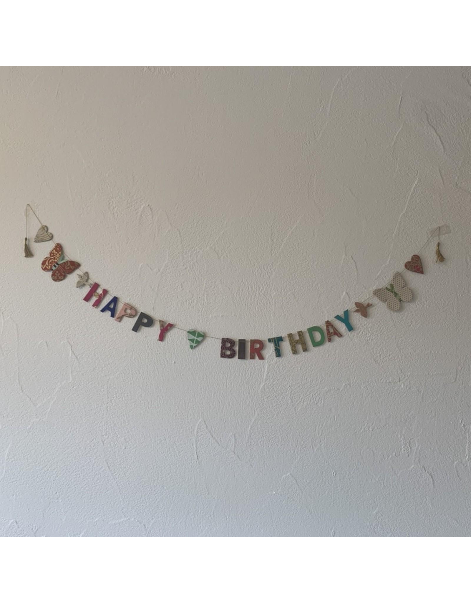 Girlande Happy Birthday klein Handgeschöpftes Papier