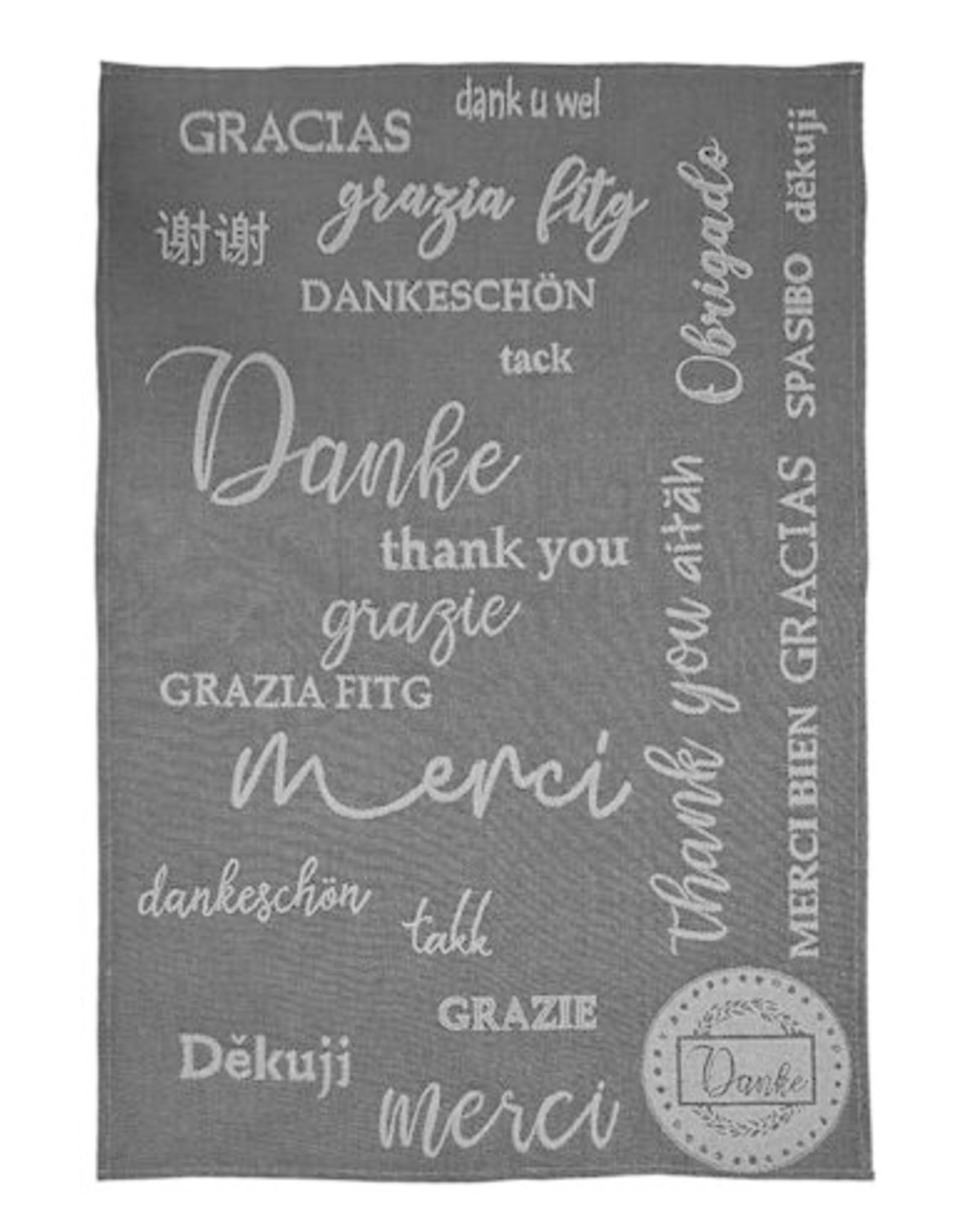 Rigotex Küchentuch Danke schwarz 100% Baumwolle