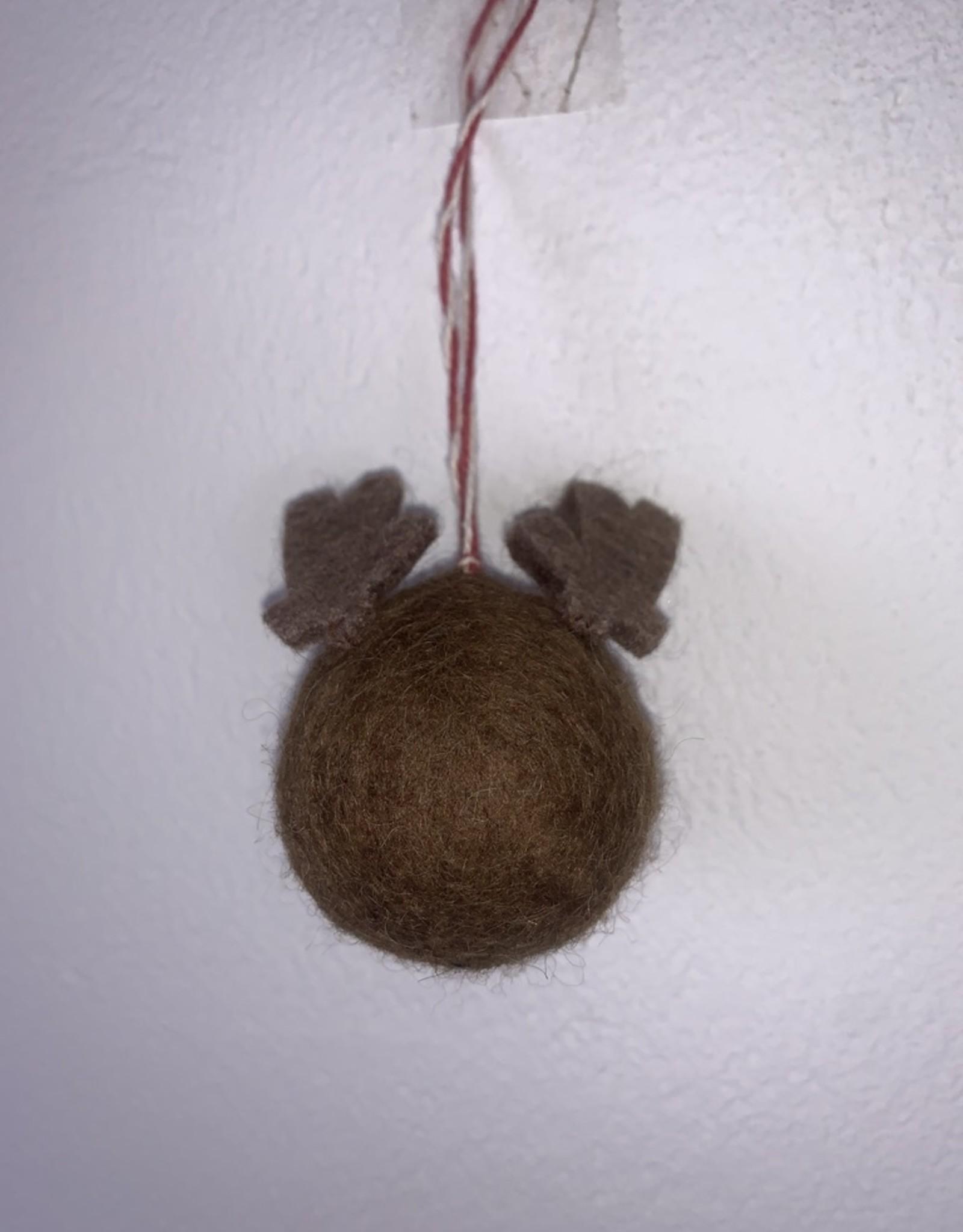 Filz Weihnachtskugel Rentier 100% Wolle gefilzt