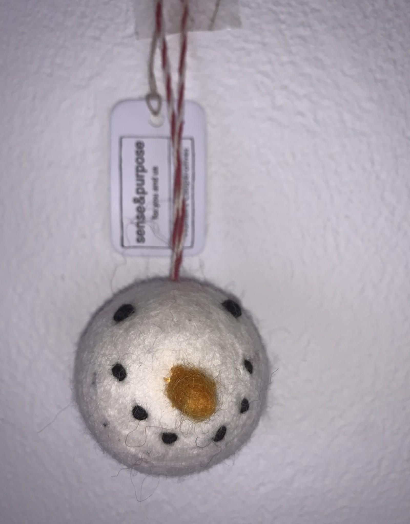 Filz Weihnachtskugel Schneemann 100% Wolle gefilzt