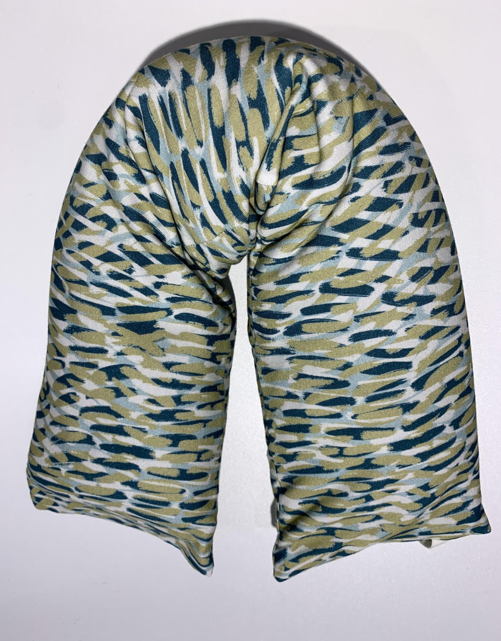 Nackenrolle Wuzi grün Muster waschbar 95% Bio Baumwolle 5% Elasthan