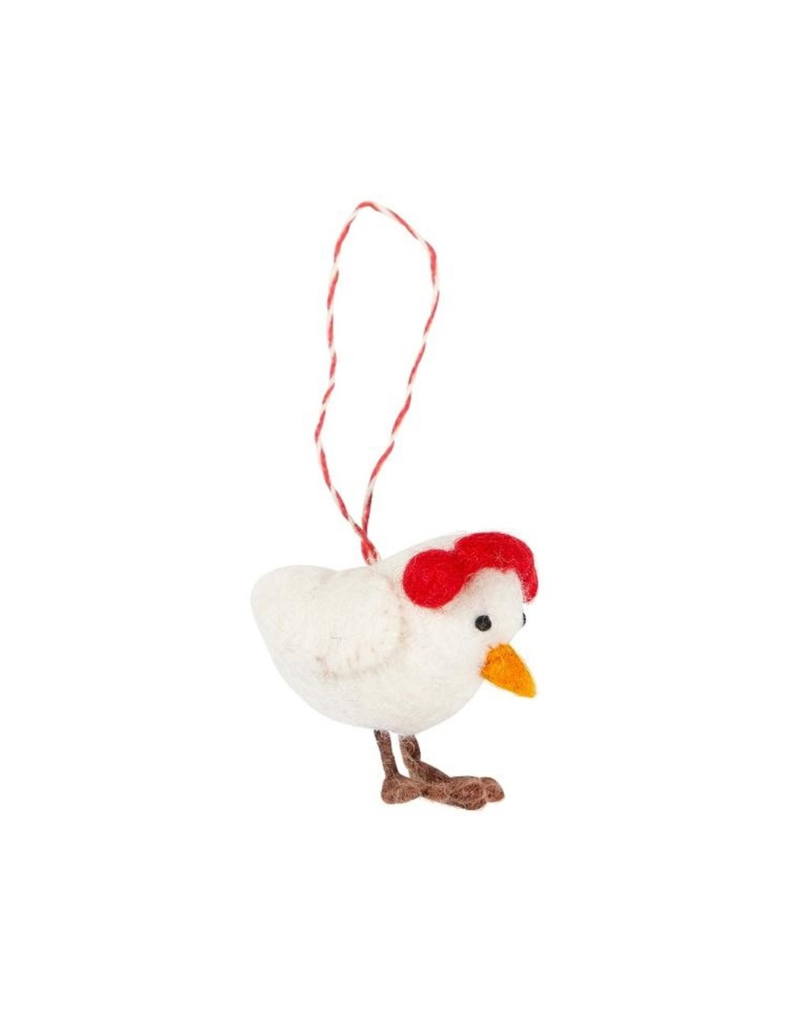 Filzhänger Earlap Chicken 100%Wolle gefilzt