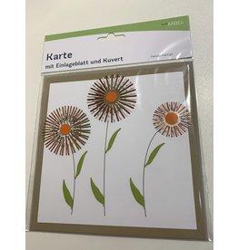 ARBES Karte Blumen mit beige Couvert