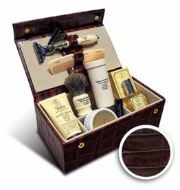 Taylor of Old Bond Street Luxury Men's Grooming Box in Brown Mock-Croc
