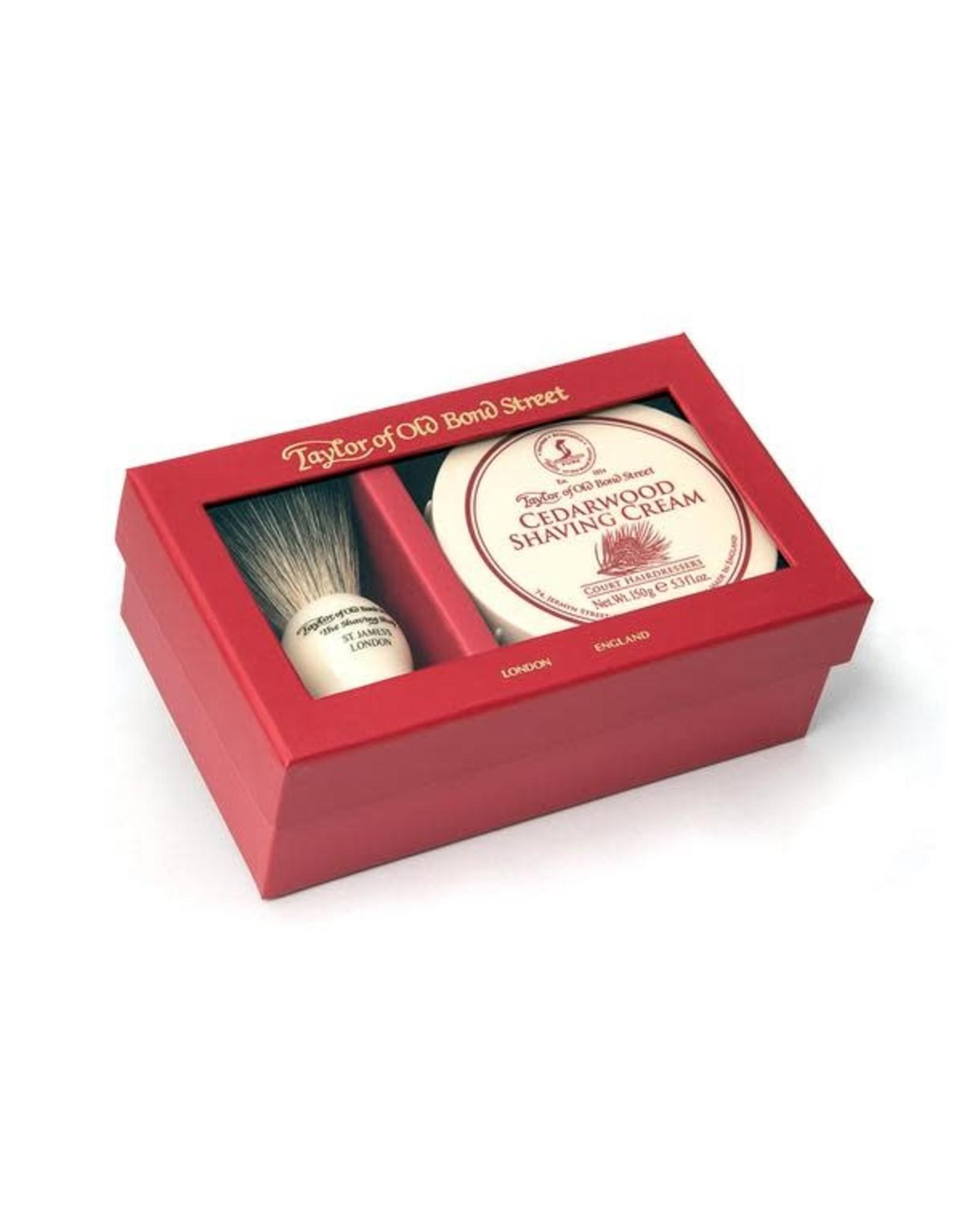 Taylor of Old Bond Street Giftbox Pure Badger & Shavingcream 150g Cedarwood