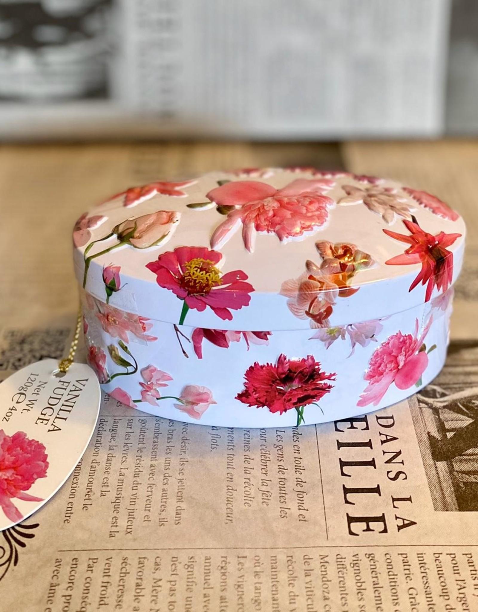 Red flower tin vanilla fudge