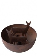 Bastion Collections Candle bowl hertjes antiek bruin