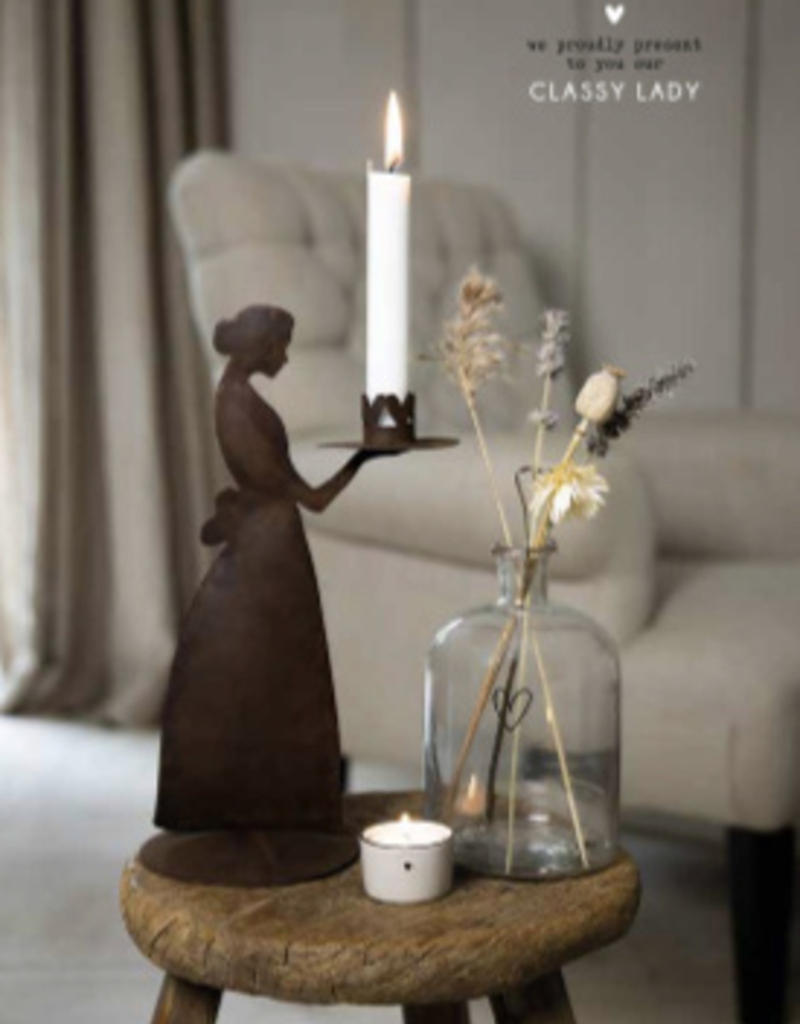 Bastion Collections Candle lady brown antique