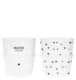 Bastion Collections Waterglazen Hartjes en Water with Love
