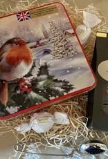 Kerst Theepakket met koekjesblik roodborstje