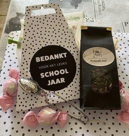 Cadeaupakket -  Bedankt Juf  thee  en theebrewer met wens