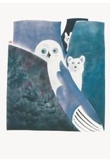 Cape Dorset Art Card: Owl, Fox and Hare legend