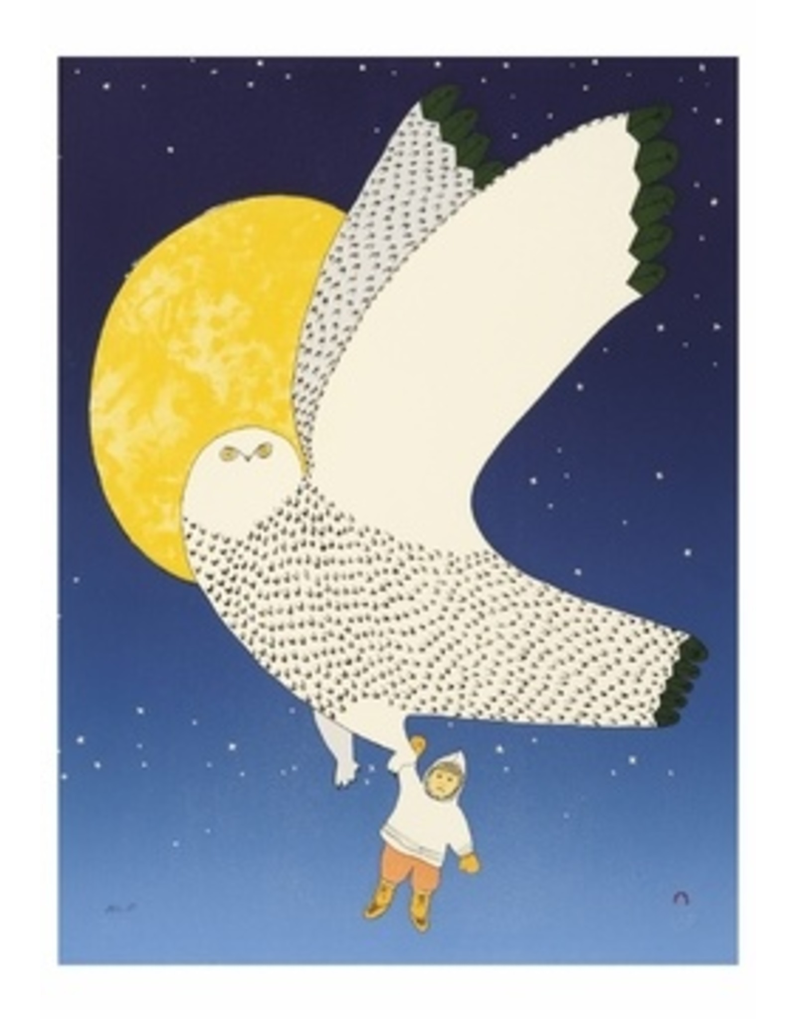 Cape Dorset Art Card: The Owl and the Boy